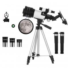 70mm aperture astronomical refracting telescope (15X-150X) for adults and children, beginners in astronomy, 300mm portable telescope with mobile phone holder and adjustable tripod