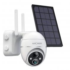 Solar Outdoor Security Camera, Wireless WiFi Pan/Tilt 360° Camera with 15000Mah Built-in Battery Infrared Motion Detection 2-Way Audio Waterproof Encrypted SD/Cloud