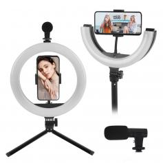 PLM-01 Vlogging kit for YouTube, with foldable ring fill light, microphone and light mobile phone holder tripod, compatible with iPhone/smartphone/camera
