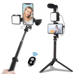 KIT-06LM Vlogging kit for YouTube, with fill light, microphone and light mobile phone holder tripod, compatible with iPhone/smartphone/camera
