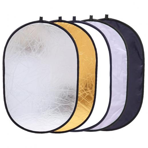 5 in 1 Oval Light Reflector 24 x 35 inch (60 x 90cm) Portable Collapsible Photography Studio Camera Lighting Reflectors/Diffuser Kit with Carrying Case
