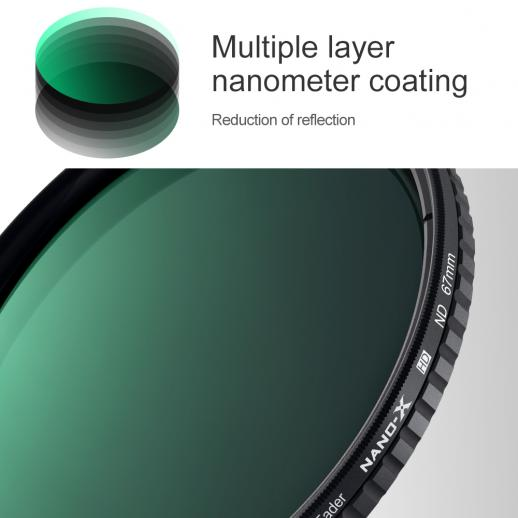 67mm ND2-ND32 Variable Neutral Density ND Filter Nano Coated