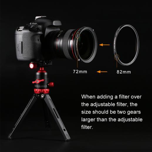 82 mm可変ND 2〜ND 32中性濃度および円偏光フィルターコーティング
