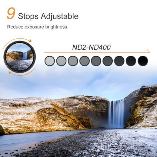 K F Kv33 58mm Nd Fader Variable Neutral Density Filter Nd2 To Nd400 For Camera Lens Ultra