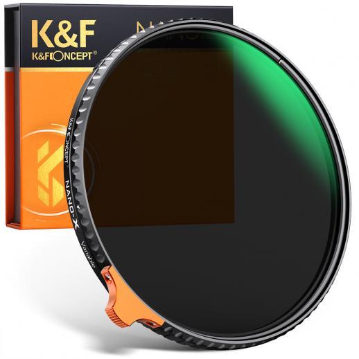 K&F ConceptHDパター62mmND2-ND400(9ストップ)可変NDフィルター、カメラレンズ用の調整可能な防水/傷防止(Nano-X II)