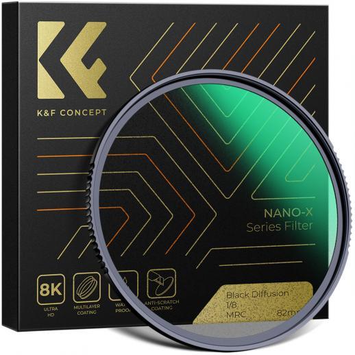 KF 82mm、Nano-X、光学ガラスブラックソフトフィルター1/8ウルトラクリア、防水、傷防止、反射防止グリーンフィルムでコーティング