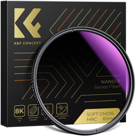 KF 55mm、Nano-X、光学ガラスソフトグラデーションGND8、超透明、防水性、耐傷性、減光性の青いフィルムでコーティング