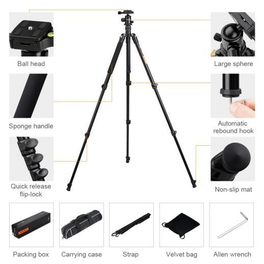 TM2324 Aluminum Lightweight Tripod for Canon Nikon DSLR Camera 62Inch Ball Head 4 Sections