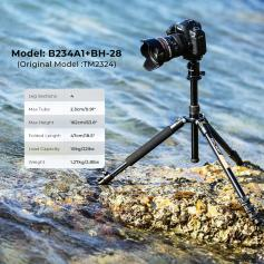 TM2324 Camera Tripod Light Compact 62''/157cm Aluminum DSLR Tripod 22 lbs Load with 360° Panorama Ball Head Quick Release Plate for Travel