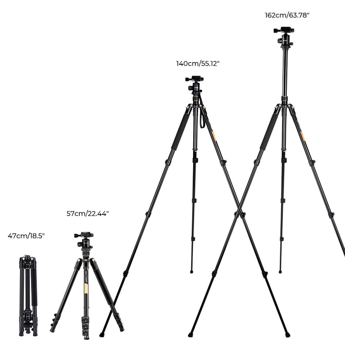 TM2324 Lightweight Travel Tripod for DSLR Camera 62 Inch Aluminum Ball Head 4 Sections