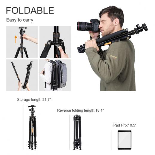 TM2324 Aluminum Lightweight Tripod for DSLR Camera 62Inch Ball Head 4 Sections