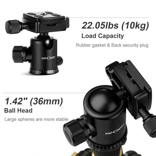 K&F Concept TM2515 Aluminum Tripod Monopod for DSLR Camera ...