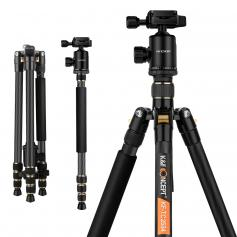 "Lightweight Carbon Fiber Camera Tripod Professional Travel Tripod 66""/168cm 22lbs Load for DSLR Cameras TC2534"