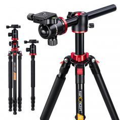 "TM2534T Professional Camera Tripod Aluminium Portable Travel Tripod 76""/1.9m 22lbs/10kg Load with 360° Ball Head Quick Release Plate for DSLR"