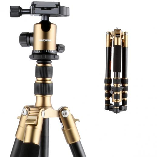K&F TM2235(Golden) DSLR Camera Aluminum Travel Tripod With Ball Head Metal