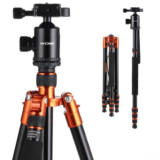 TM2534(オレンジ)アルミ製三脚 自由雲台 4段 一脚兼用