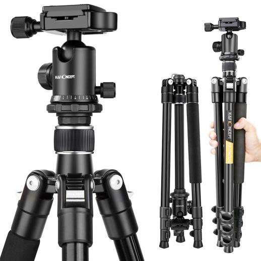 K&F TM2324 (Silver) Lightweight Travel Tripod 62 Inch Aluminum Ball Head 4 Sections For DSLR