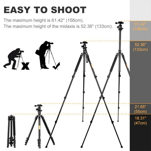 TM2324(Silver) Lightweight Travel Tripod 62 Inch Aluminum Ball Head 4 Sections