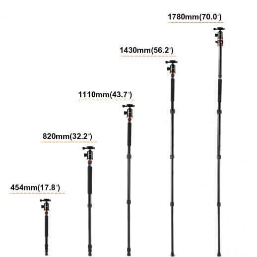 TM2534T(Orange) Aluminium Camera Tripod Monopod Kit 72 Inch for Canon Nikon DSLR Photography
