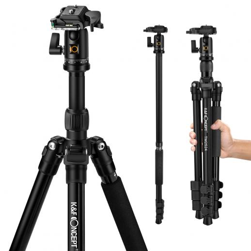 K&F TM2524 Lightweight Travel Tripod Monopod for DSLR Camera Aluminum Ball Head