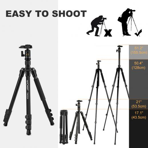TM2524 Lightweight Travel Tripod Monopod for DSLR Camera Aluminum Ball Head