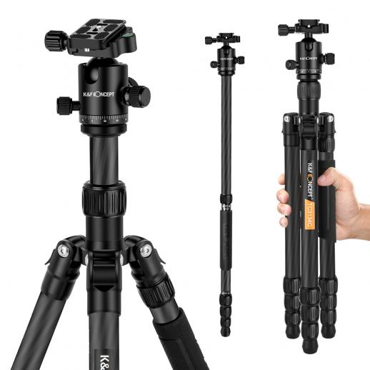 TC3134C Professional Carbon Tripod Monopod Kit for DSLR Camera Ball Head 4 Sections