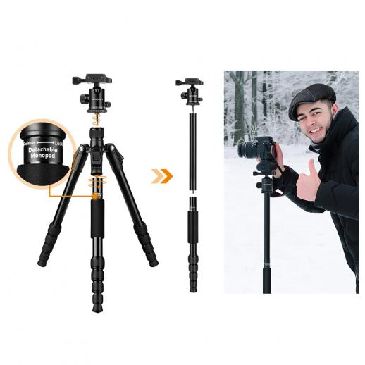 TM2515 Aluminum Lightweight Compact Tripod 50inch for Canon, Nikon DSLR Camera