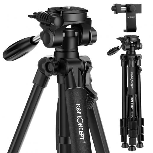 K&F TM2324L 56inch Compact Tripod with 3-Way Pan Tilt Head Black