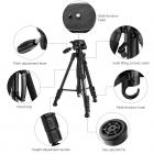 TM2324L Black Portable Compact Tripod 56inch for Video Camera Cellphone 3-Way Swivel Pan Tilt Head