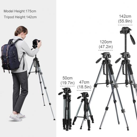 TM2324L Gray Portable Compact Tripod 56inch for Video Camera Cellphone 3-Way Swivel Pan Tilt Head