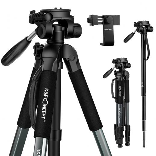 K&F TM2624L 70inch Tripod with 3-Way Pan Tilt Head Gray