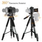TM2624L Gray Portable Compact Tripod 70inch for Video Camera Cellphone 3-Way Swivel Pan Tilt Head