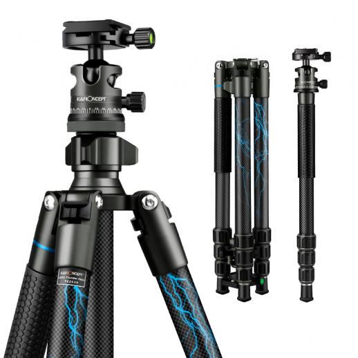 K&F TC2634 (Blue) Carbon fiber Tripod Lightweight Portable