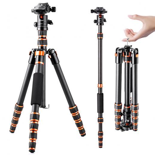 "K&F BA225 50.03"" Carbon Fiber Camera Tripod 360 Degree Ball Head Detachable Monopod"