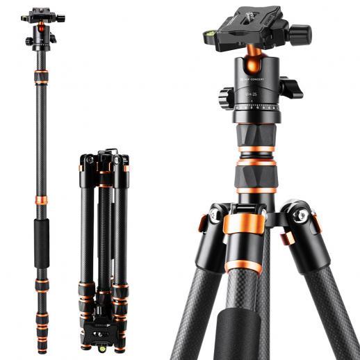 "BA225 Carbon Fiber Camera Tripod Lightweight Portable 60""/1.5m 17.6lbs Load Portable Travel Tripods 360° Ball Head for SLR DSLR Cameras"
