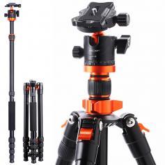 "TM2515M1 Aluminum Portable Camera Tripod Travel Tripod 22lbs Load 67""/1.7m with Detachable Monopod for DSLR"