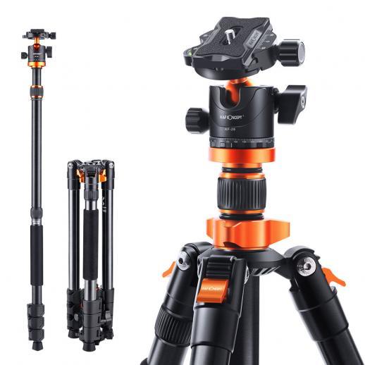 K&FコンセプトSA254M1 62インチDSLRカメラ三脚軽量でコンパクトなアルミニウム取り外し可能な一脚三脚、360パノラマボールヘッドクイックリリースプレートで旅行や仕事に