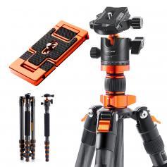 "Carbon Fiber Camera Tripod Professional Lightweight Vlog Travel Tripod 67""/1.7m 22lbs Load for SLR DSLR SA255C1"