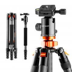"Professional Carbon Fiber Camera Tripod 65""/164cm Portable Travel Tripod 10kg/22lbs Load for DSLR SLR with Detachable Monopod SA284C1"
