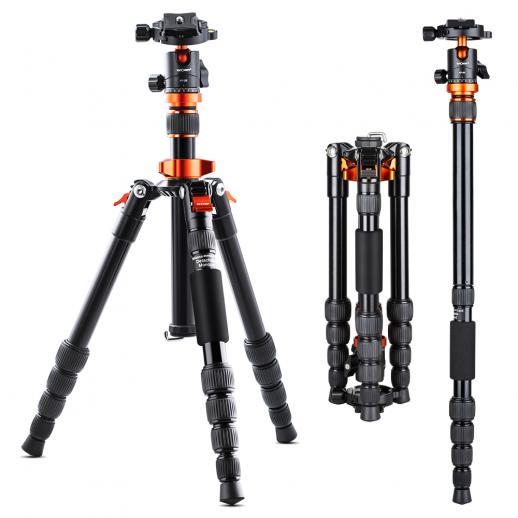 "61"" Camera Tripod Portable Flexible Aluminium Travel Tripods 17.63lbs Load with Portable Monopod & Carry Bag for DSLR Cameras"