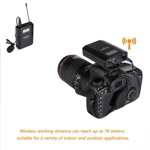 M8 UHF Wireless Lavalier Microphone for Video Camera & Camcorder