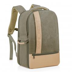 K&F Camera Backpack Stylish Canvas Photography Bag with Rain Cover,14 inch Laptop,Tripod,Lenses
