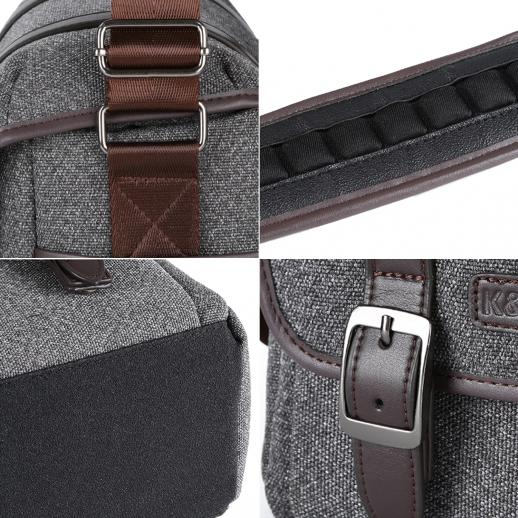 DSLR Camera Messenger Shoulder Bag Gray 9.8*5.1*8.7 inches