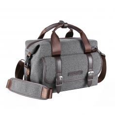 DSLR Camera Messenger Shoulder Bag Gray 11.8*6.3*9.5 inches