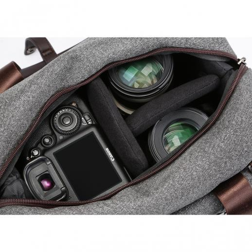DSLR Camera Messenger Shoulder Bag Gray 11.8*6.3*9.5 inches