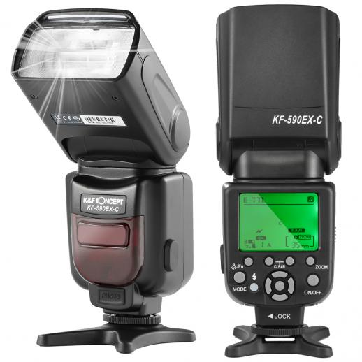 KF590C E-TTL Flash for Canon EOS Rebel GN56 Auto-Focus Wireless Slave
