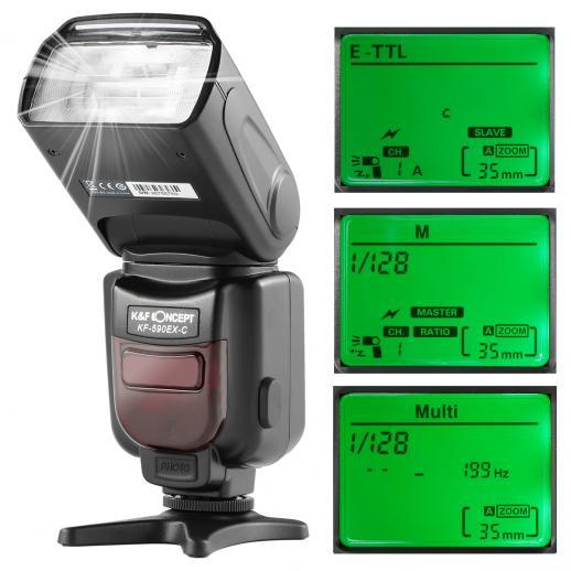 KF590C E-TTL Flash for Canon EOS Rebel GN56 Auto-Focus Wireless Slave