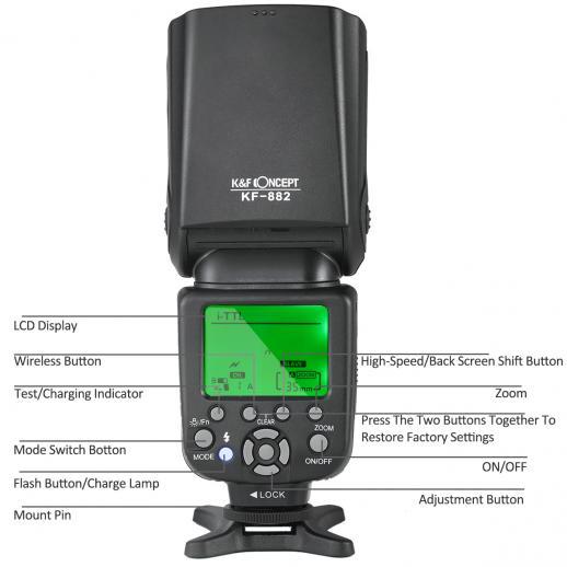 Flash HSS KF882 i-TTL para sincronização de alta velocidade Nikon GN58 1 / 8000s