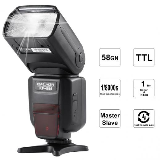 KF885 Wireless TTL Flash 1/8000 High-Speed Sync Speedlite Shoe Mount for Canon Nikon