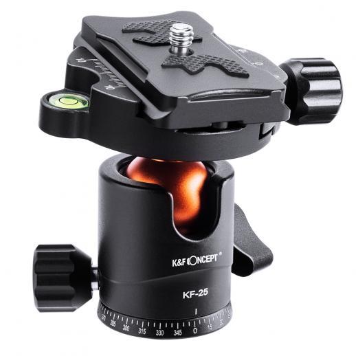 """すべてのSLRカメラに適した1/4 """"スレッドと取り外し可能なクイックリリースプレートを備えたプロフェッショナルメタル三脚ボールヘッド360度回転パノラマ。三脚ヘッドを三脚、一脚、またはカメラスライダーに取り付けるための下部3/8ネジ穴"""